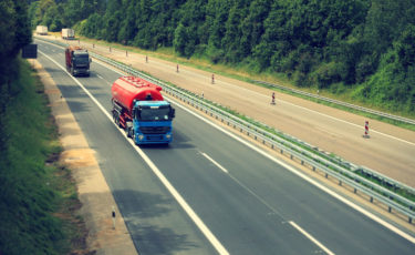 truck navigation being used on highway